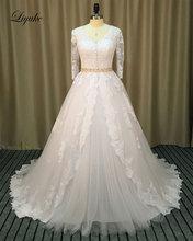 Фотография Liyuke Vintage Lace Appliques Ball Gown Wedding Dresses Three Quarter V-Neck Beading Sash Romantic Bride Dress robe de marriage