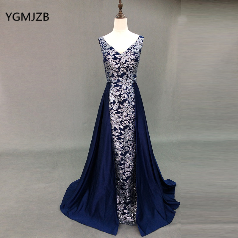 Navy Blue Glitter Sequins Evening Dress Long 2018 V Neck with Detachable  Train Party Gown Muslim Prom Dress Arabic dab9e9686b4e