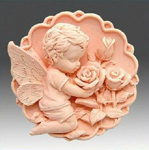 Round Soap Silicone Molds for soap making handmade Angel Craft 3d Flower Chocolate Cake mold