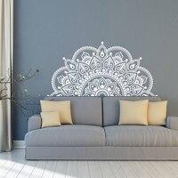 Наклейка на стену мандала, половина мандала, Виниловая наклейка на стену, йога подарок идеи, Главная спальня, изголовье художественный узор ...