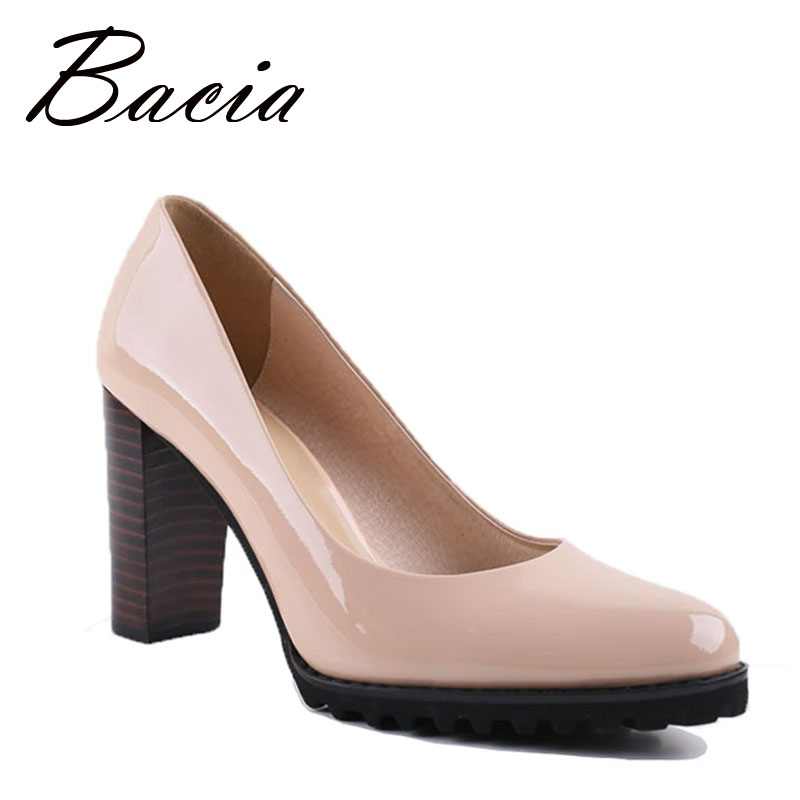Bacia Square Heel pumps Genuine Leather Shoes For Women Luxury Quality Heels Round Toe Slip On Bridal Shoes Russian Size VA003 2017 shoes women med heels tassel slip on women pumps solid round toe high quality loafers preppy style lady casual shoes 17