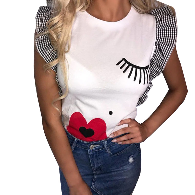 Fashion Woman   Blouses   2019 Eyelash Lip Print Butterfly Sleeve Womens Tops and   Blouses     Shirt   Women's Summer   Blouses   2019 Tops