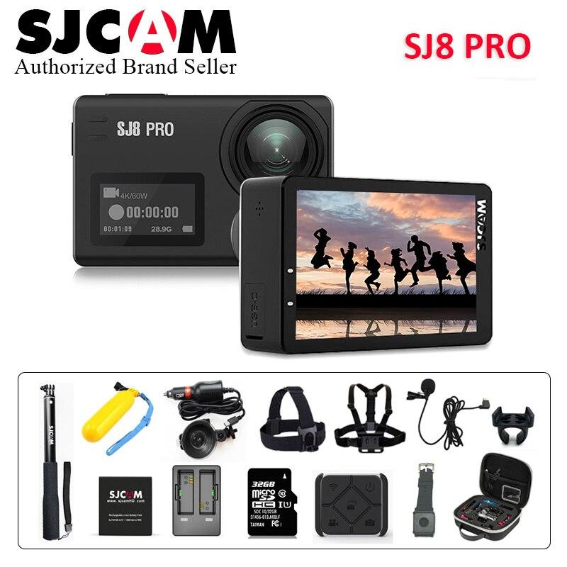 Stock! SJCAM SJ8 Pro 4 k 60fps Sport Caméra Étanche Anti-Secousse Double Écran Tactile 8 * Zoom Numérique WiFi télécommande D'action DV