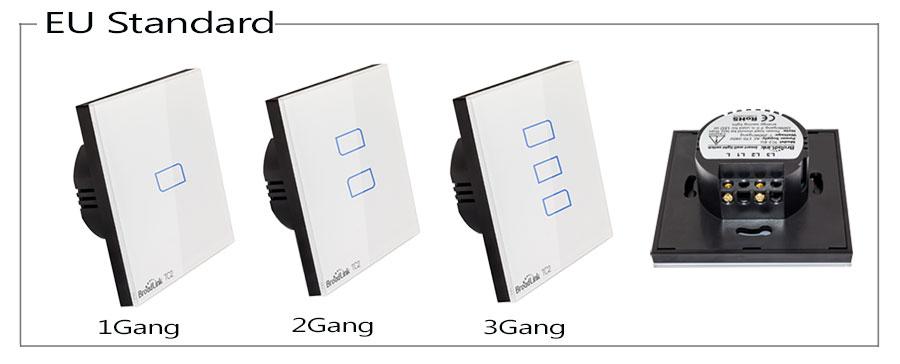 Broadlink TC2 UK EU US Switch 1Gang 2Gang 3Gang Touch Switch Smart Home Automation Wireless Wifi Control Light Wall Switch RF433 1