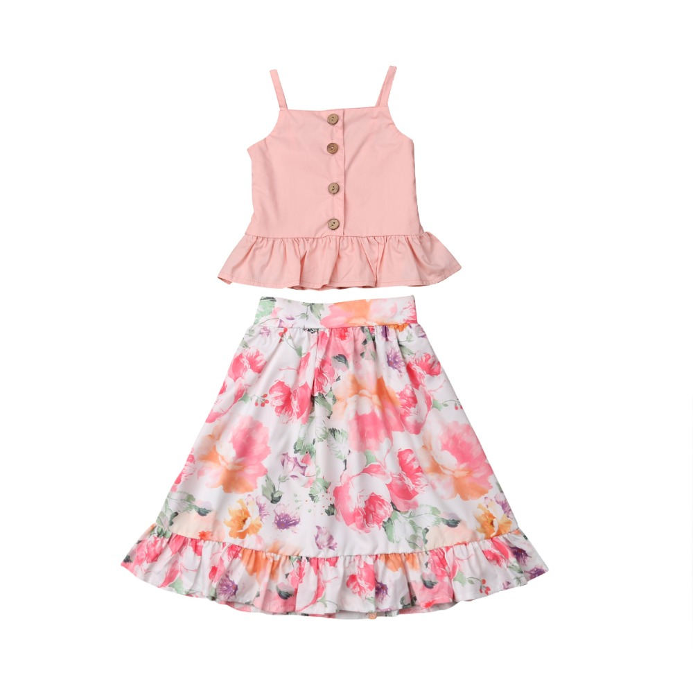 Cute Child Women Clothes Units Sleeveless Ruffles Tops Floral Skirts Outfit Set 2Pcs New child Toddler Child Women Garments Set Clothes Units, Low-cost Clothes Units, Cute Child Women Clothes...