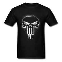 Tops T Shirt Marvel Punisher Spray Paint Men TShirt Logo T-Shirt Awesome Superhero Clothes Hip Hop Tees Black White Art Design(China)