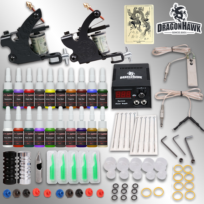 Professional tattoo kit 2 guns machines 20 ink sets power supply   D175GD-8 professional tattoo kits liner and shader machines immortal ink needles sets power supply