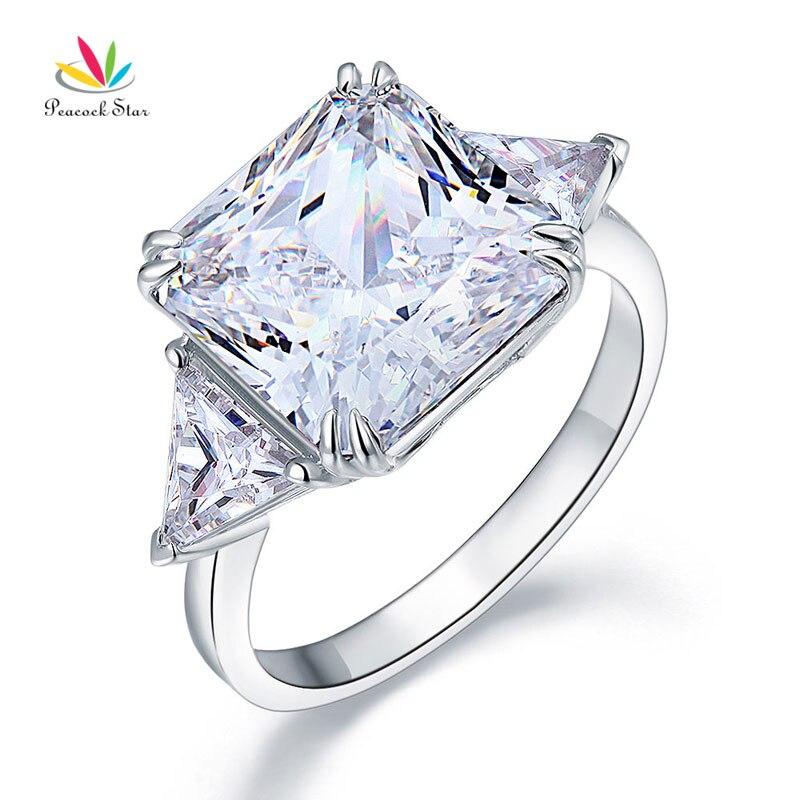 Estrela pavão Sólida 925 Prata Esterlina Anel de Três-Pedra Luxo Aniversário 8 Carat Criado Diamante CFR8155