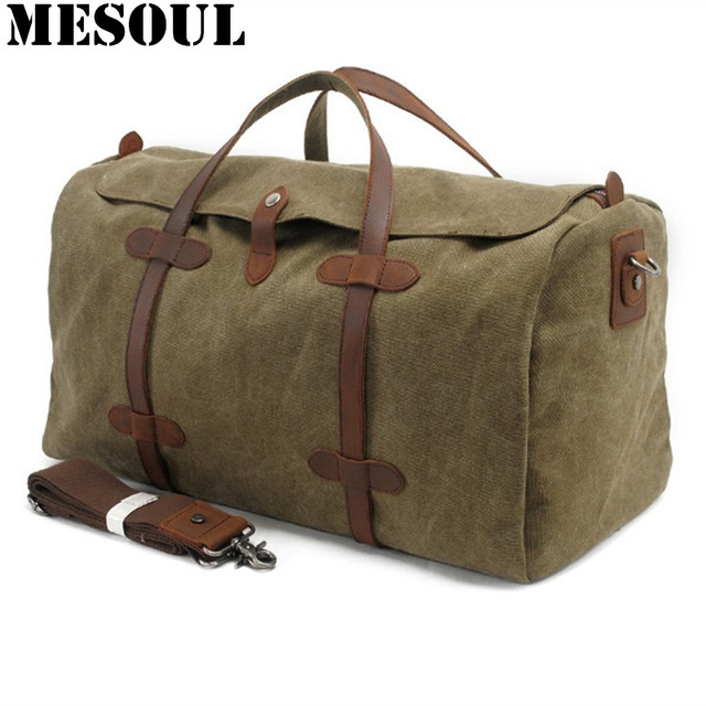 Oversized Vintage Military Canvas Travel Tote Duffel Bag Men Large Capacity Shoulder Bags Satchel Luggage Weekend