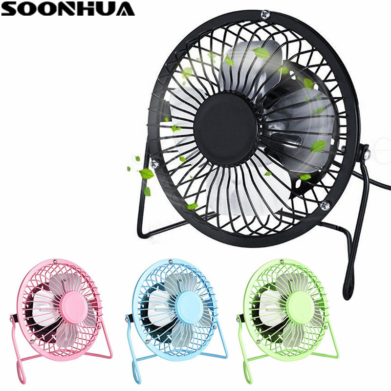 SOONHUA Portable DC 5V Small Metal Desk USB 4 Blades Cooler Cooling Fan Quiet Mini Desktop Fans Super Mute Silent For PC Laptop