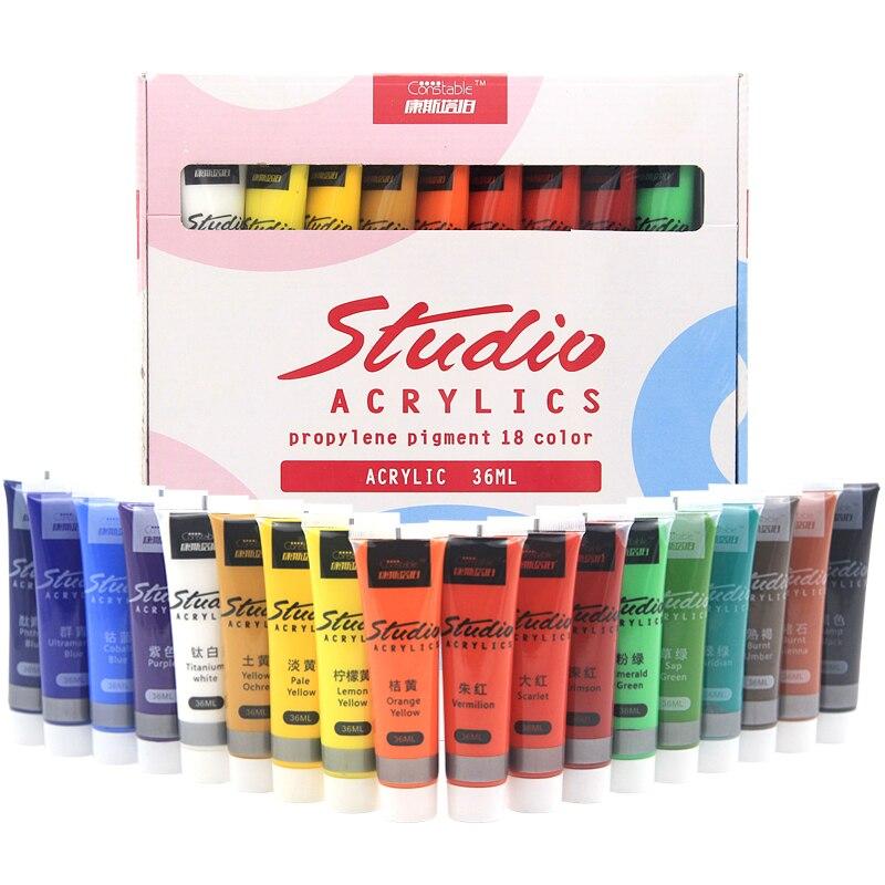 Ensemble de peinture acrylique couleurs 36 ml peinture de tissu pour vêtements Textile ongles pigment de fibres peintures acryliques pour la peinture de grandes fournitures d'art