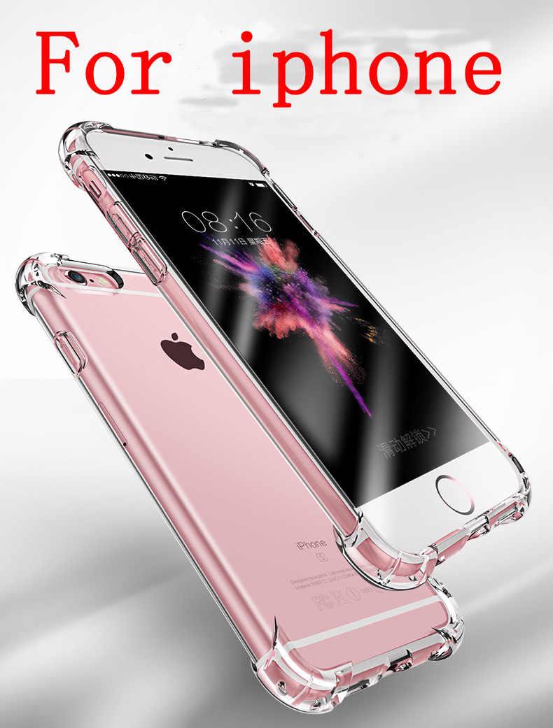 Super Antichoc Souple Transparent étui pour iphone 5 5 S SE 6 7 8 Plus 6splus 7plus 8plus X S R MAX Silicium Luxe Téléphone Portable Couverture Arrière
