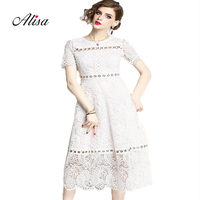 Robe Femme 2018 New Summer Short Sleeve Vintage Dress Women Fashion Lace Patchwork Metal Ring Buckle Slim A lin Party Dresses