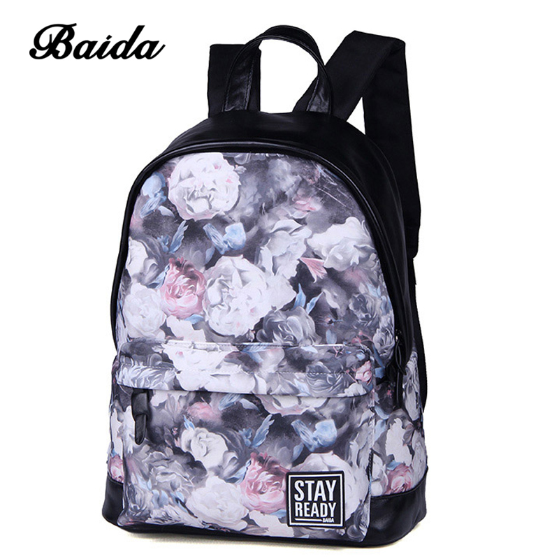 2016 Hot Sale Flower PU Leather Backpack Chinese Style Women School Bags Mochila Cool Girl Backpacks