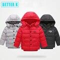 Зима новый девушки зимнее пальто детей в долгосрочной пуховик мальчиков и девочек куртка С Капюшоном толстые теплые детские куртки детские зима
