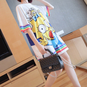 Summer short-sleeved long  female fashion tide 2019 Korean version of the new women's loose printed t-shirt skirt