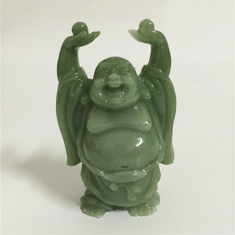 Chinese Happy Maitreya Buddha Statue Sculpture Man-made Jade Stone Home Garden Decoration Lucky Laughing Buddha Statues Figurine