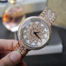 Мода сталь Часы Вращающийся Цветок Большой Циферблат Наручные Часы Женщины Платье Горный Хрусталь Часы relógio feminino relojes mujer 2016