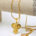 100% Gold Plated elephant golden necklace pendants High Quality Fashion Hiphop long necklaces gold Chain for men bijouterie