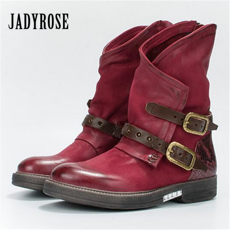 Jady Rose 2018 New Winter Women Red Ankle Boots Genuine Leather Flat Botas Mujer Side Zipper Buckles Rubber Short Martin Boot jady rose vintage red women ankle boots side zipper straps genuine leather short botas autumn winter female platform martin boot