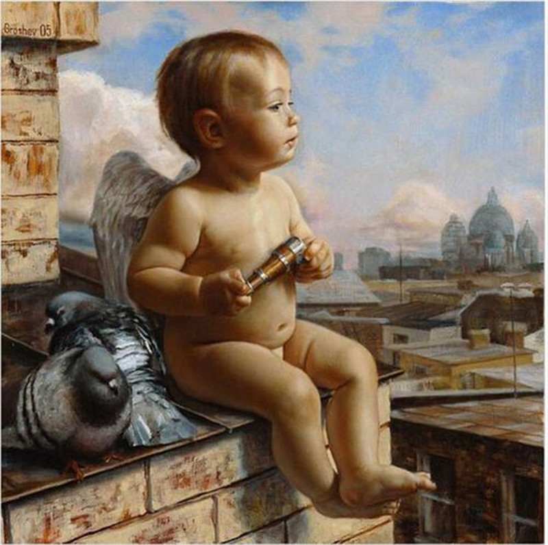 High Quality Baby Angel Printed DIY Digital Oil Painting By Numbers Hand Painted Oil Painting 40x50cm No Frame