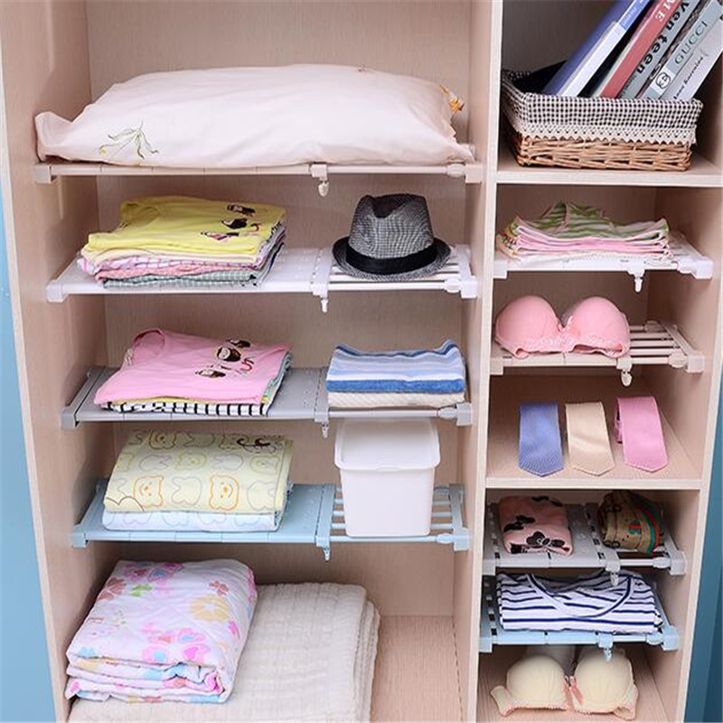 Wardrobe Storage Shelf Cabinet Layered Parion Board Nail Free Kitchen Bathroom Telescopic Rack In Holders Racks From Home