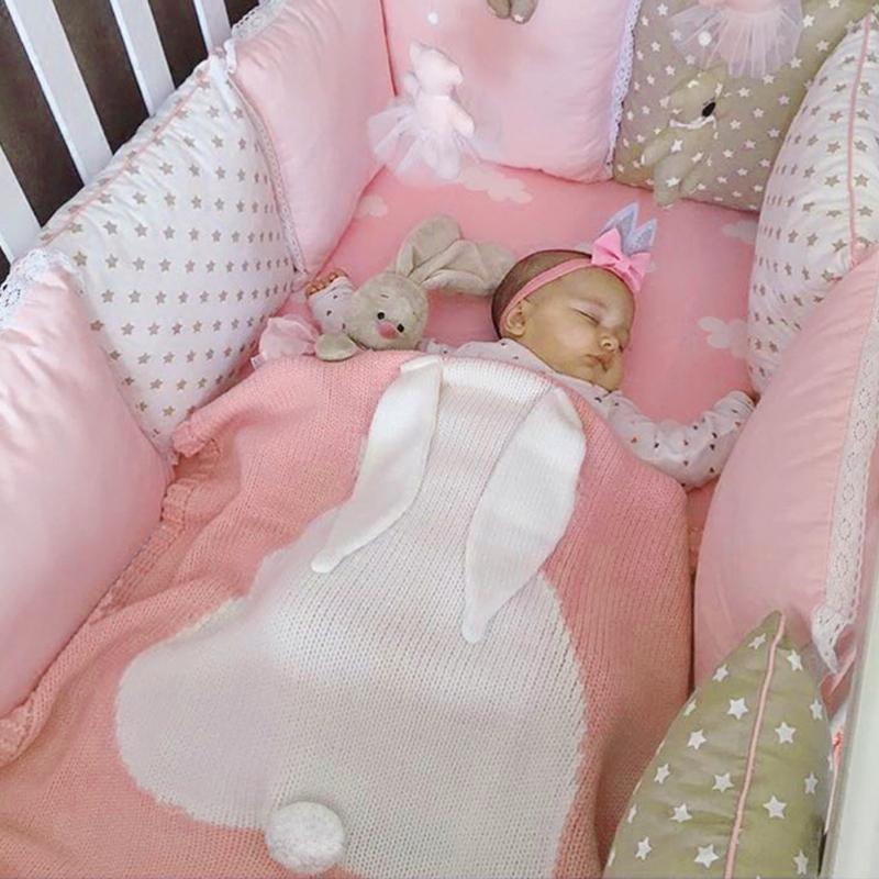 Cartoon Konijn Baby Leuke Deken Zacht Warm Breien Roze Inbakeren - Beddegoed - Foto 3