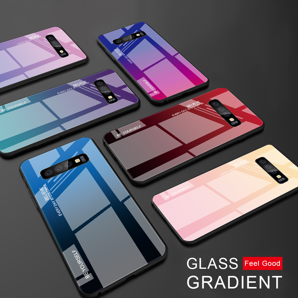 Color Case For Samsung Galaxy S10 S10e A9 A7 A8 A6 Plus 2018 A7 A5 J4 J6 Plus S9 S8 Plus Note 8 9 S20 Ultra Tempered Glass Cover(China)
