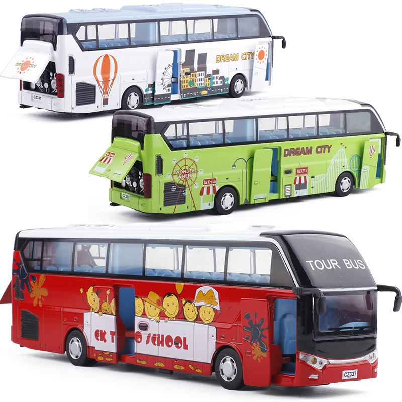 High Simulation Alloy Bus,1:32 Scale Alloy Pull Back Toy Cars,open Door Bus Model,Wholesale, Resale, Free Shipping
