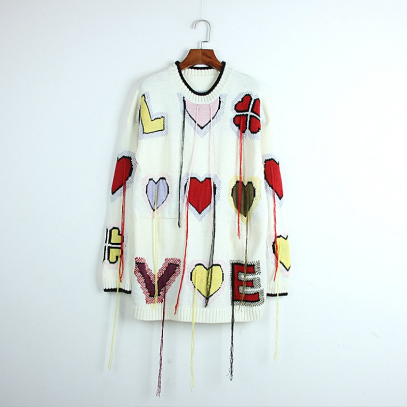 Women's Sweaters Tops Tassel Long Pullover Jacquard Love-Lucky-Jumper Hearts Fashion