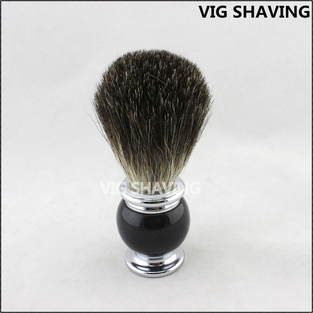 Black  and chorme plated Metal handle Black pure badger hair shaving brush