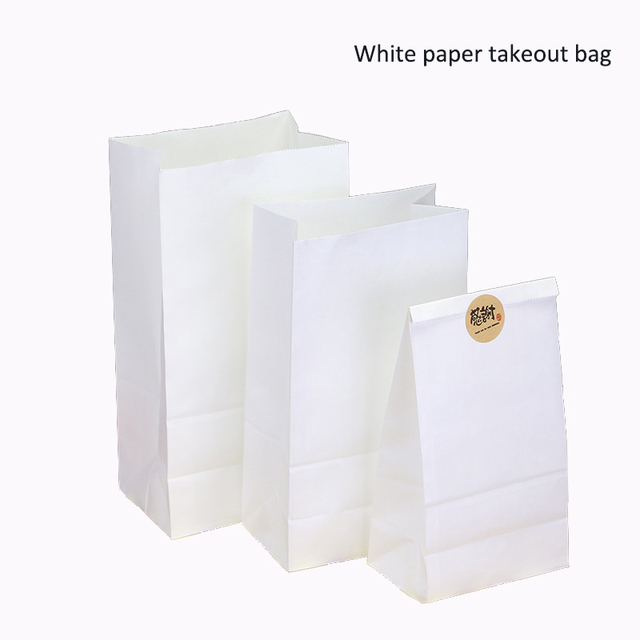 100pcs Lot 7 Sizes White Paper Gift Bags Sandwich Bread Candy Takeout Fast Food