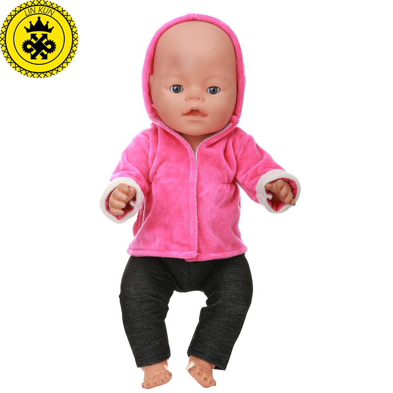 Baby-Born-Doll-Clothes-Red-Hooded-Jacket-Black-Trousers-Suit-fit-43cm-Baby-Born-Zapf-Doll-Clothes-Doll-Accessories-541-1