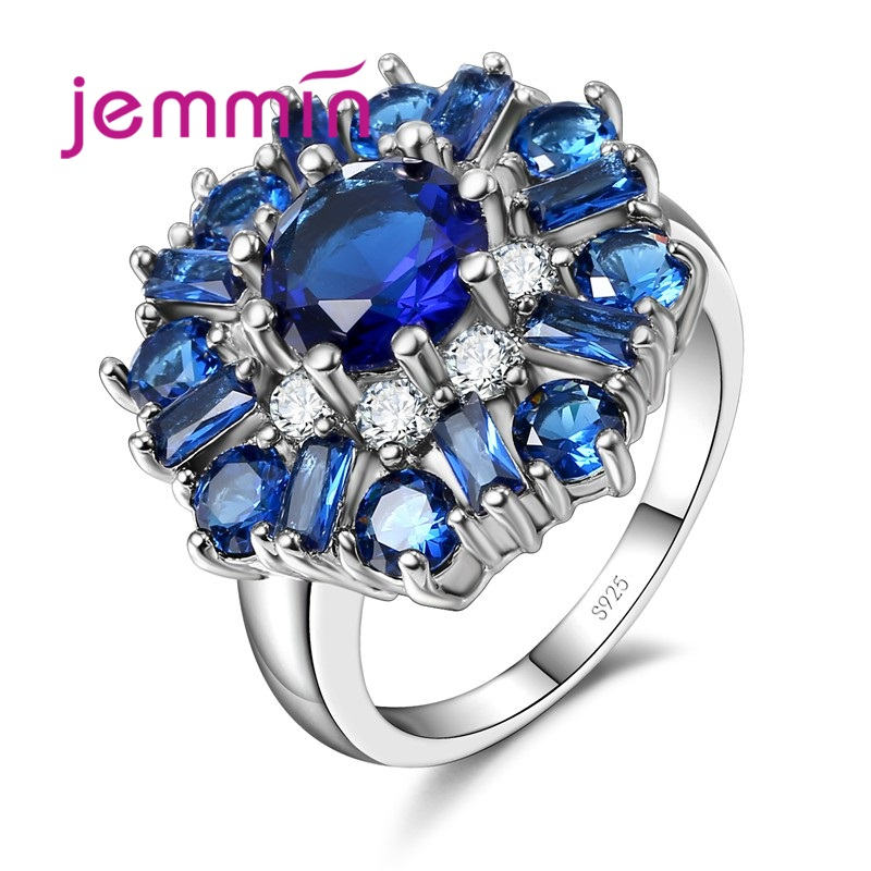 Luxury Sapphire Flower Ring For Women Best Gift High Quality Crystal Female Anel 925 Sterling Silver Jewelry For Wedding