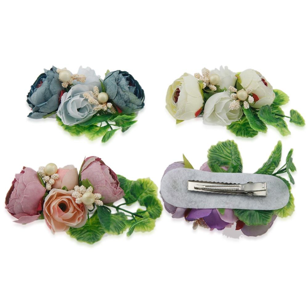 Baby Headband Simulation Flowers Floral Hair Clip Kids Flower Hairpin Children Hair Accessories Wedding Bride Beach Headwear
