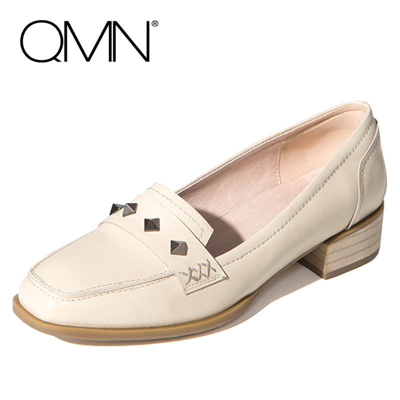 QMN women genuine leather flats Women Cow Leather Loafers Square Toe Slip On Leisure Shoes Woman Rivets Flats qmn women crystal embellished natural suede brogue shoes women square toe platform oxfords shoes woman genuine leather flats