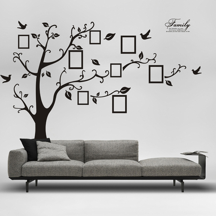 Large 250*180cm/99*71in Black 3D DIY Photo Tree PVC Wall Decals/Adhesive Family Wall Stickers Mural Art Home Decor Free Shipping