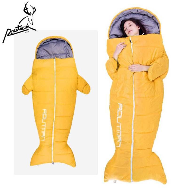 Penguin Shape Warm Hand Stretch Out Sleeping Bags for Adult Outdoor Camping Mummy Lazy Bag Soft Cotton Penguin Sleeping Bags creeper 2017 new outdoor sleeping bags cotton warm lazy bags winter tent sleeping bags camping travel adult convinient sleep