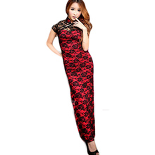Sheath Charming Cheongsam Short Sleeve Long Dress Gorgeous Costume for Female Retro Clothing Chinese Women Pocahontas Lady CA416