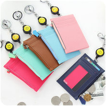 Solid color leather card holder wallet women credit bus ID cards pouch zipper coin purses keychain kid slim coin purse case(China)