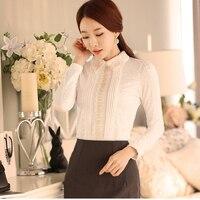 Для женщин топы элегантные осенне зимние с длинным рукавом Для женщин рубашки белый бархат повседневные блузки женские Костюмы Кружевные б