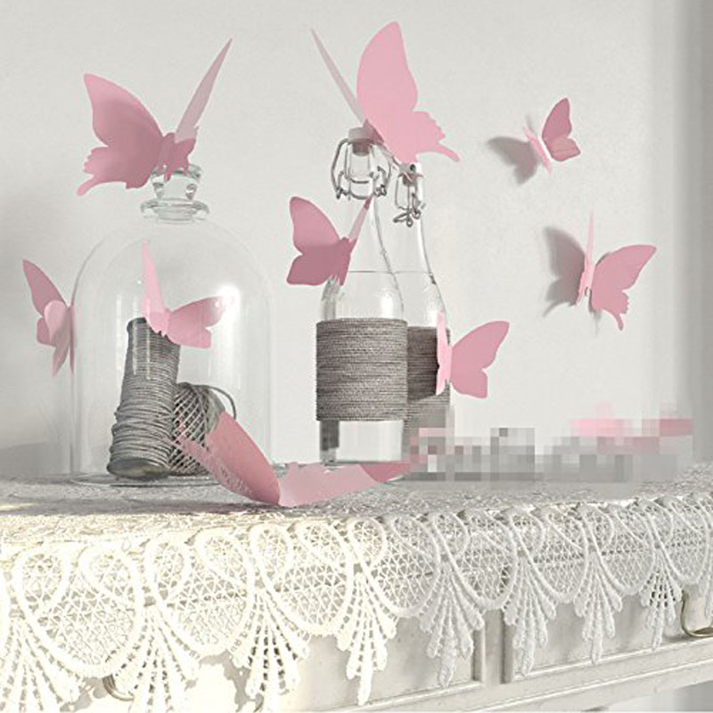 12pcs Butterfly stickers country wedding bridal baby shower birthday Christmas new year Anniversary festival Backdrop Decoration(China)