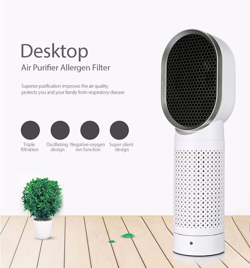 DC 5V USB Desktop Triple Filtration System Air Purifier Allergen Filter Negative Oxygen Ion Two Speed Energy Saving negative ion air cleaning box air mate for bedroom with true hepa activated carbon filter electric arc pm 2 5 allergen free