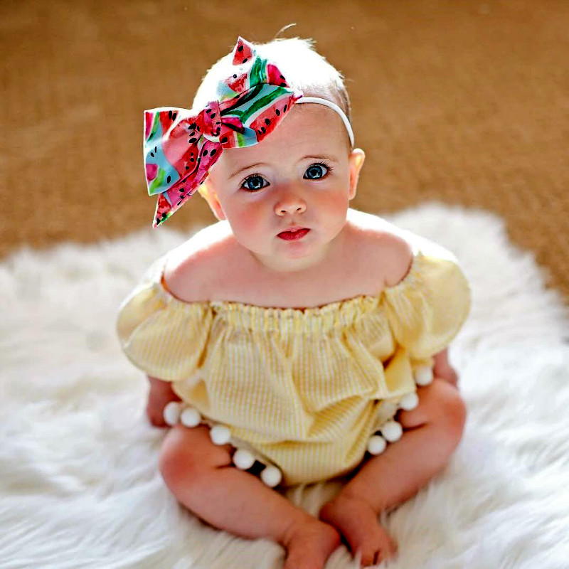 Pudcoco Summer Baby Girls Clothes 3Pcs Outfits Set Ruffled Tops+Shorts Pants+Headband Newborn Girls Clothing Sets Yellow 0-24M ...