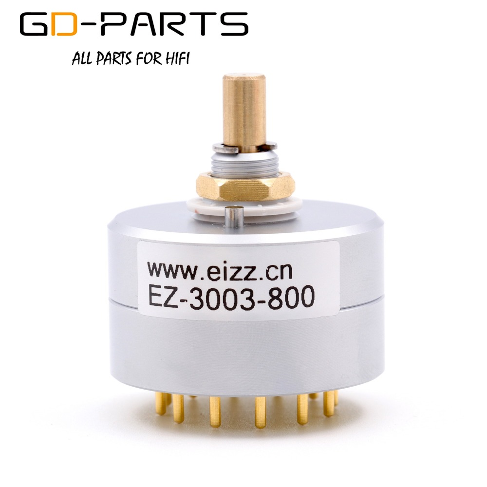EIZZ 3 Way 3 Positions Rotary Switch Signal Source Selector Aluminum Shield 12 Gold Plated Copper Pins Hifi Audio AMP DIY