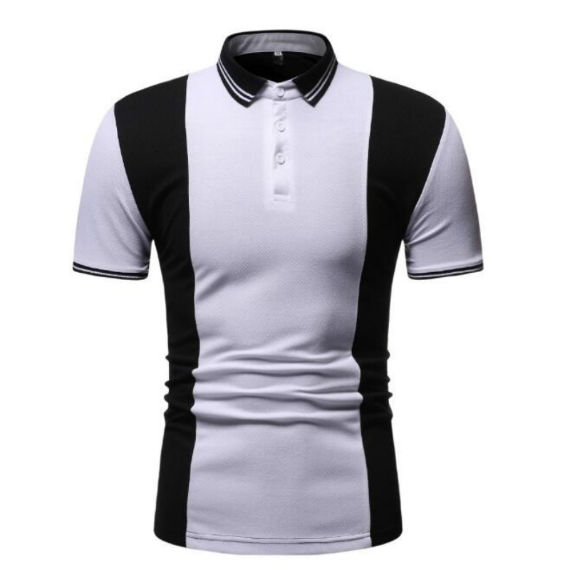 Summer new short sleeve European and American style youth contrast color simple European code   Polo   shirt