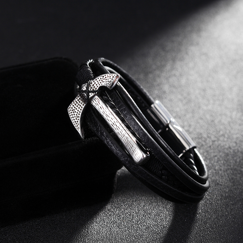 XiongHang 2020 Hot Sale An Axe Stainless Steel Chain Multilayer Genuine Leather Bracelet Men Vintage Male Braid Ax Jewelry