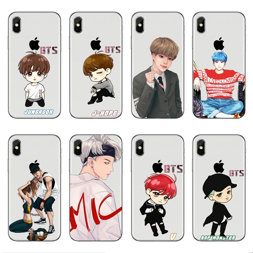 Boys' Shoes Phone Cases Bts Bangtan Boys Cute Cartoon For Iphone X 10 5 5s Se 6 6s 7 8 Plus High Quality Clear Soft Tpu Silicone Coque Cover