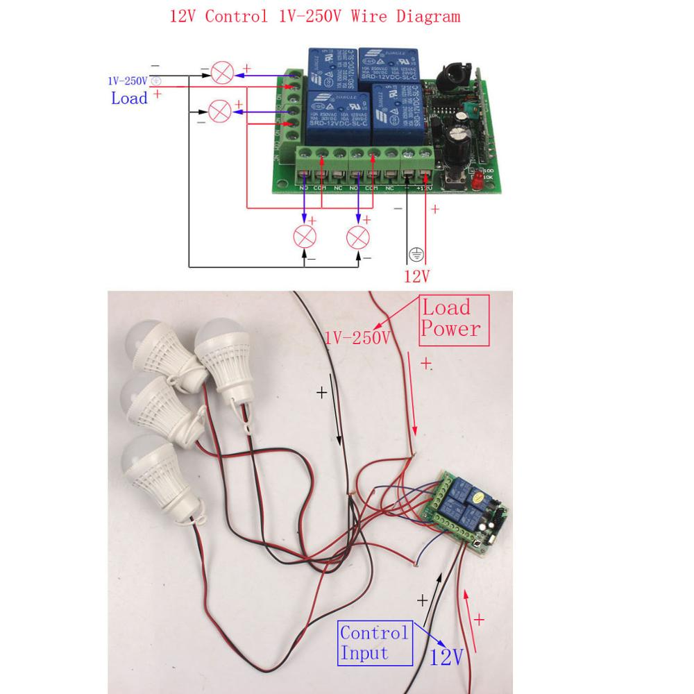 Sleeplion 12 V 4ch Interruptor Remoto Inalmbrico De Universal Volt Relay 12v Wireless Remote Switch Control 4 Channel Module