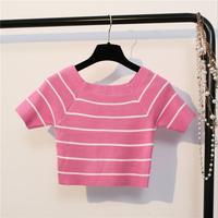 Châu âu Và Hoa Kỳ Phụ Nữ T Shirt Strip Rốn Tiếp Xúc Với Nữ Đường Phố Quần Áo Cô Gái Ngọt Ngào Tees Tops F110